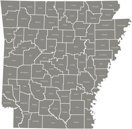 Arkansas county map  vector outline in gray color