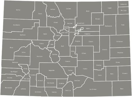 Colorado county kaart vector overzicht in grijze kleur Stock Illustratie