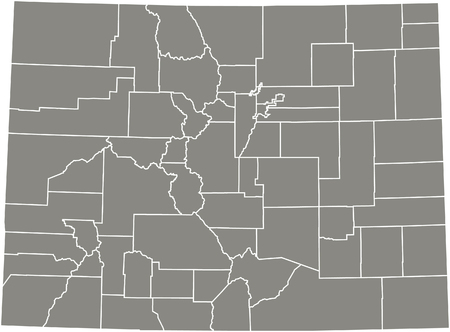 denver colorado: Colorado county map  vector outline in gray color