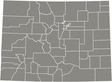 Colorado county map  vector outline in gray color