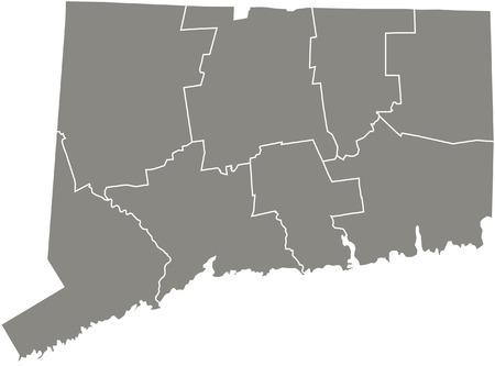 Connecticut county kaart vector overzicht in grijze kleur