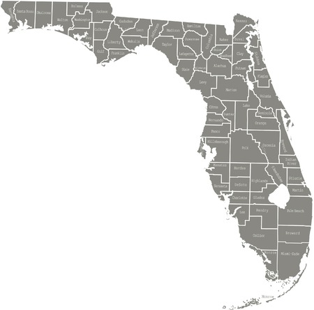 Florida county map  vector outline in gray color 向量圖像