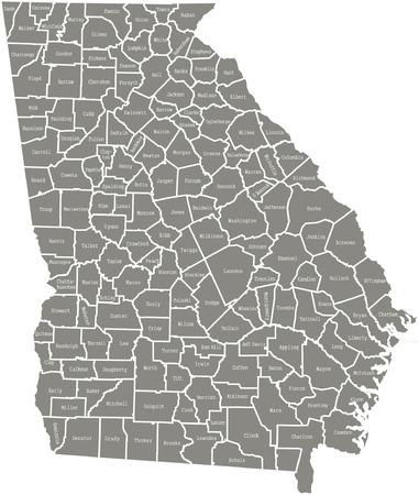 Georgia county kaart vector overzicht in grijze kleur