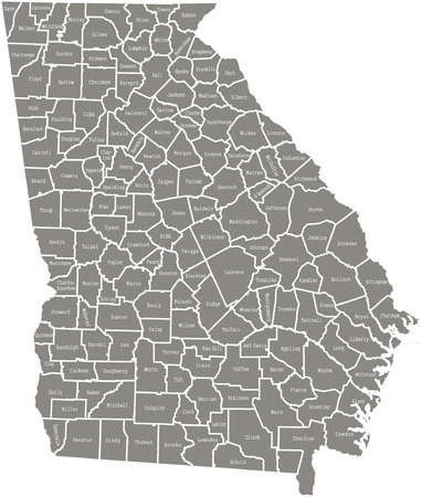Georgia county map  vector outline in gray color