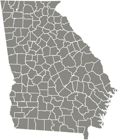 Georgia county map  vector outline in gray color 免版税图像 - 51907546
