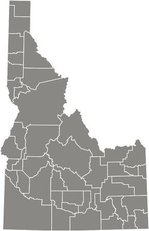 Idaho county kaart vector overzicht in grijze kleur