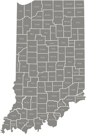 Indiana county map  vector outline in gray color