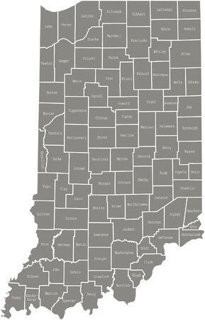 Indiana county kaart vector overzicht in grijze kleur