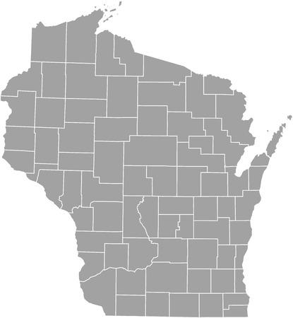 Wisconsin comté carte vecteur contour de couleur grise