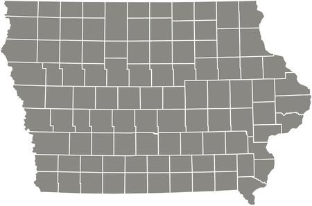 Iowa county kaart vector overzicht in grijze kleur Stock Illustratie