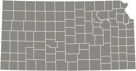 Kansas county map  vector outline in gray color Stock Illustratie