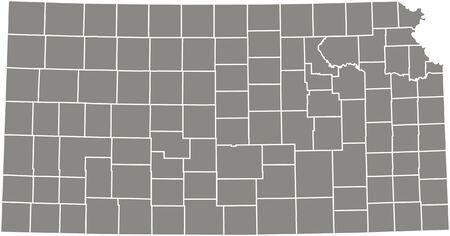 Kansas county kaart vector overzicht in grijze kleur