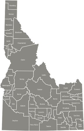 Idaho County Map Vector Outline In Gray Color Royalty Free - Idaho county map