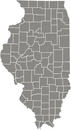 Illinois county map  vector outline in gray color