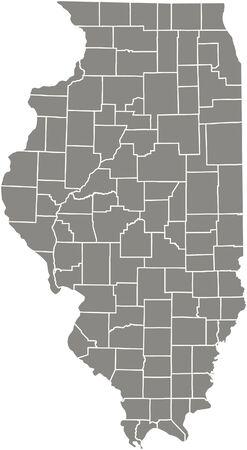 Illinois county kaart vector overzicht in grijze kleur