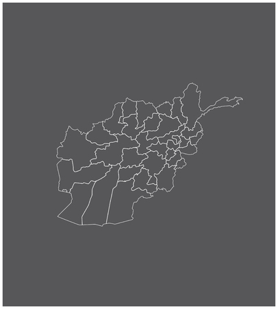 Afghanistan map outline with borders of provinces or states