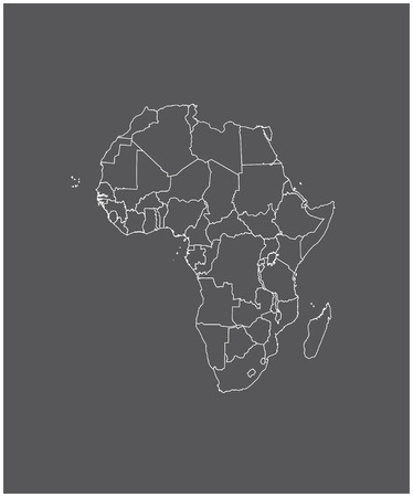kenya: Africa map outline with borders of provinces or states Illustration