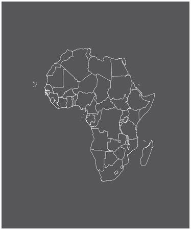 Afrika kaart schets met grenzen van provincies of staten Stock Illustratie
