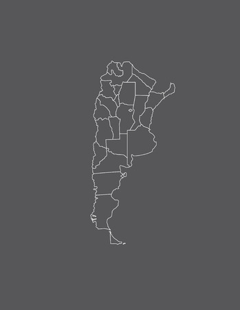 Argentina map outline with borders of provinces or states 向量圖像