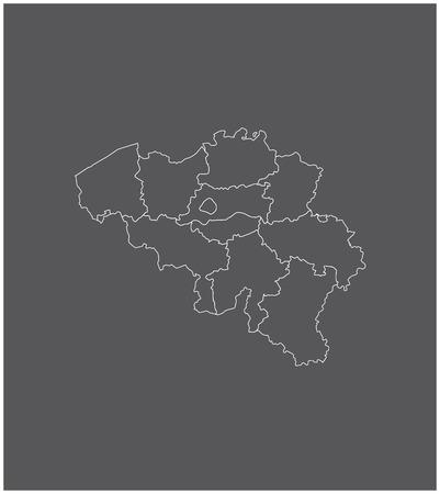 België kaartoverzicht met grenzen van provincies of staten