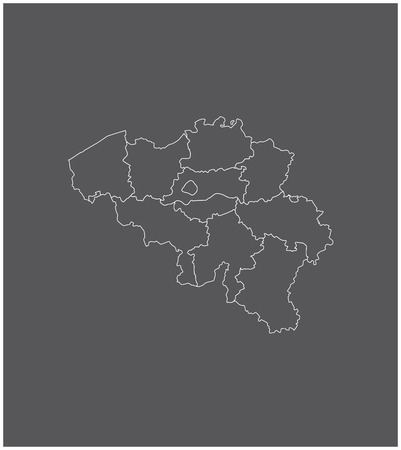 walloon: Belgium map outline with borders of provinces or states Illustration