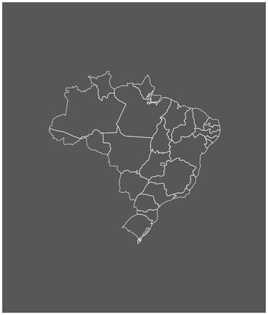 Brazil map outline with borders of provinces or states 向量圖像