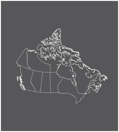 yukon: Canada map outline with borders of provinces or states