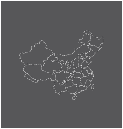 china map outline with borders of provinces or states
