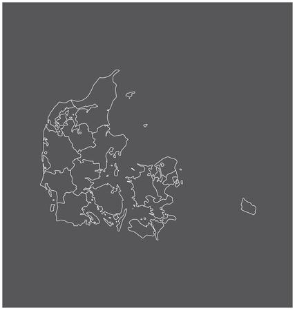 Denemarken kaart schets met grenzen van provincies of staten