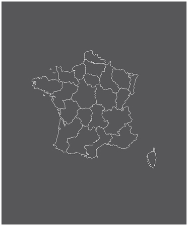 mayotte: France map outline vector with borders of provinces or states