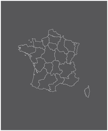 Frankrijk kaart outline vector met grenzen van provincies of staten