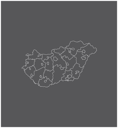 Hungary map outline  with borders of provinces or states