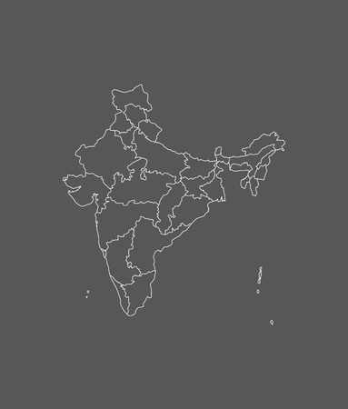 kerala: India map outline with borders of provinces or states