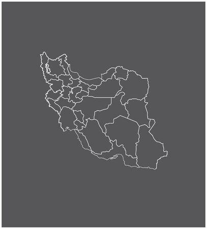 Iran kaartoverzicht met grenzen van provincies of staten