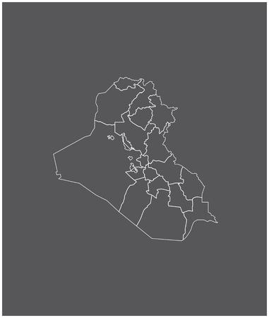 Irak kaartoverzicht vector met grenzen van provincies of staten