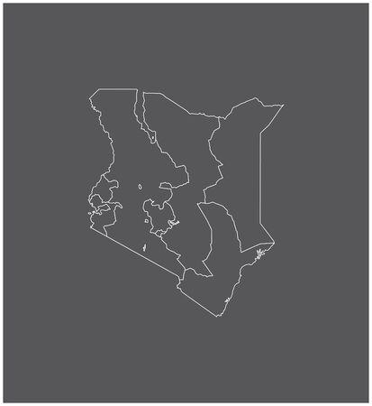 Kenya map outline vector with borders of provinces or states 向量圖像