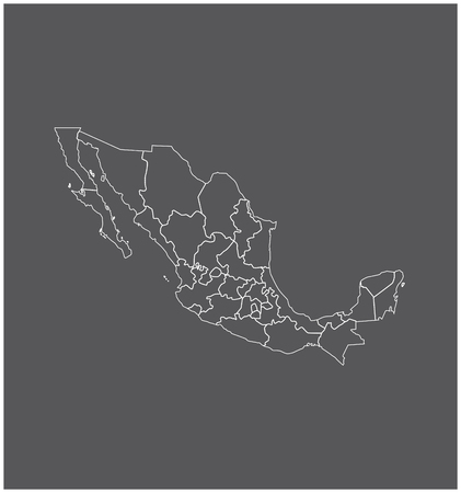 Mexico map outline vector with borders of provinces or states