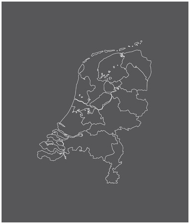 Netherlands map outline vector with borders of provinces or states 向量圖像
