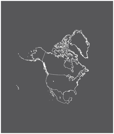North America map outline with borders of provinces or states