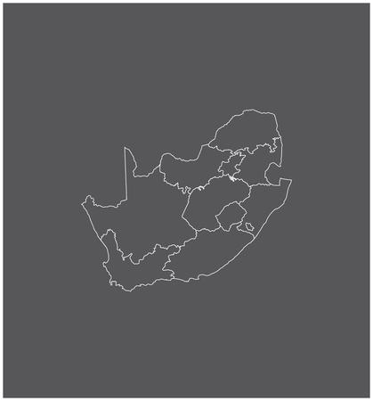 Zuid-Afrika kaart schets met grenzen van provincies of staten Stock Illustratie