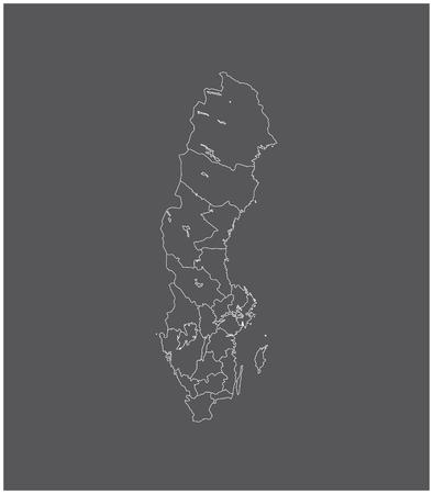 Zweden kaart schets vector met grenzen van provincies of staten
