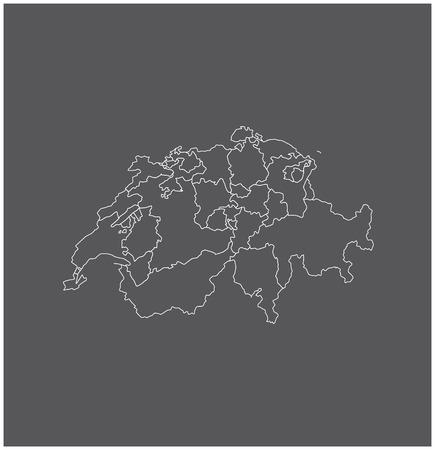 Zwitserland kaart schets met grenzen van provincies of staten Stock Illustratie