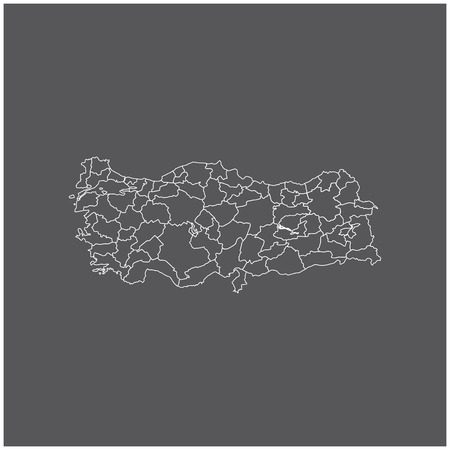 bursa: Turkey map outline vector with borders of provinces or states