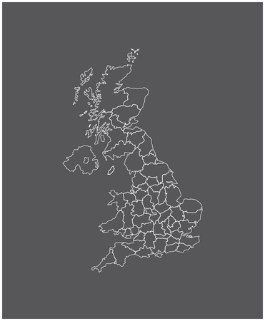 british isles: united kingdom map outline vector in gray background