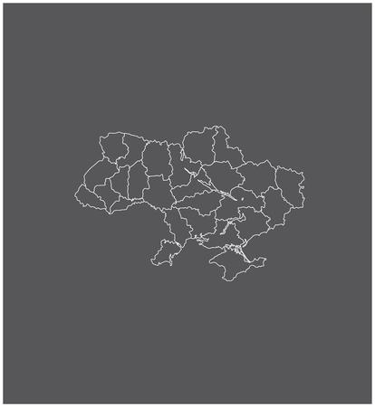 Oekraïne kaartoverzicht vector met grenzen van provincies of staten