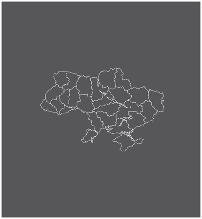 chernobyl: Ukraine map outline vector with borders of provinces or states
