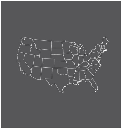 United States map outline vector in gray background