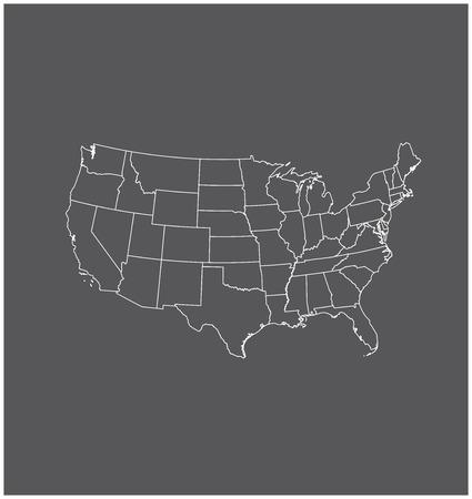 Verenigde Staten kaartoverzicht vector in een grijze achtergrond
