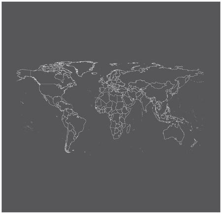 contorno: Mundial de vectores mapa de contorno en fondo gris