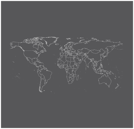 World  map outline vector in gray background